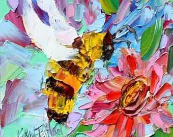Just Bee painting original oil 6x6 palette knife impressionism on canvas fine art by Karen Tarlton