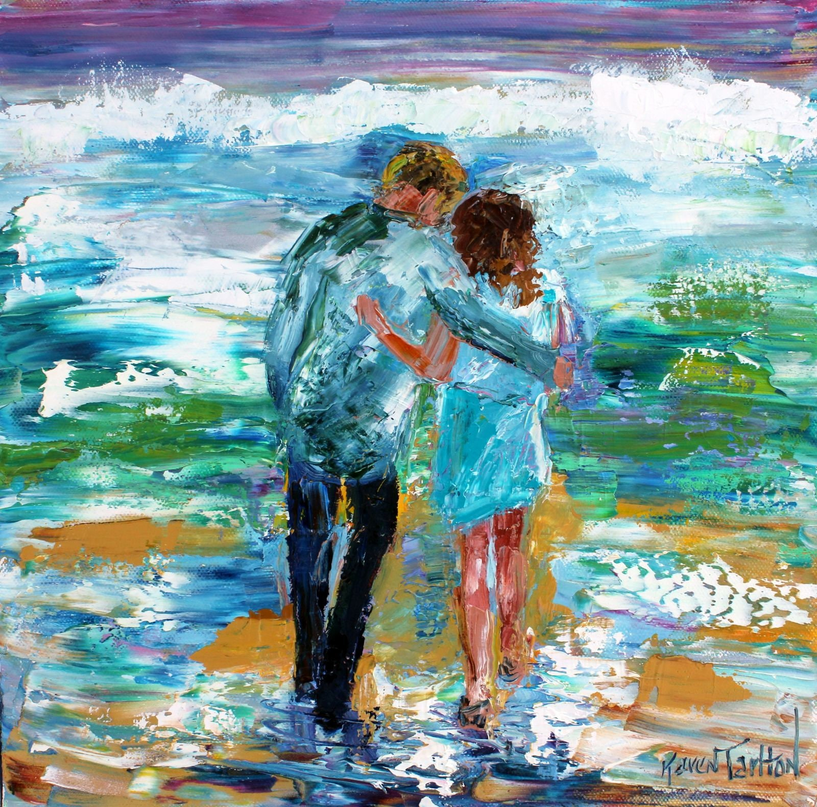 Love couple painting original oil 12x12 abstract palette ...