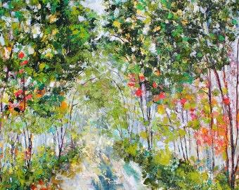 Sun Dappled Path landscape abstract palette knife impressionism on canvas fine art by Karen Tarlton