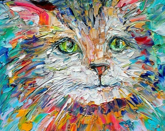 Cat painting Original oil abstract palette knife impressionism on canvas fine art by Karen Tarlton
