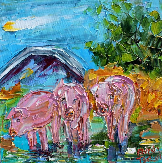 pigs painting original oil abstract impressionism fine art etsy