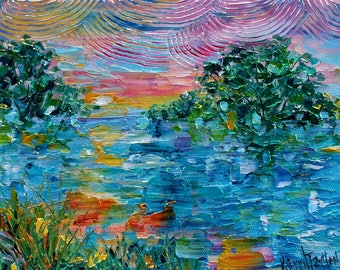 Early Morning LIght painting original oil abstract impressionism fine art impasto on canvas by Karen Tarlton