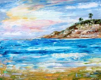 Sunset Cliffs Sunrise  painting Original oil landscape palette knife impressionism on canvas 20x24 fine art by Karen Tarlton