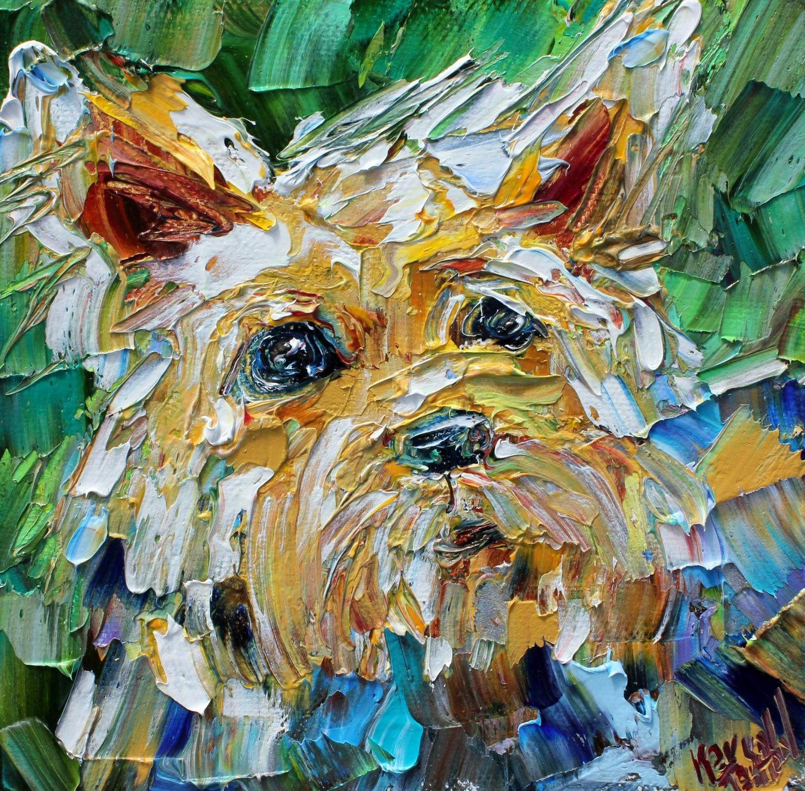 """Original oil painting The pet dog art portrait canvas 6 x6 /""""artist signed"""