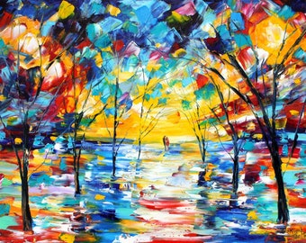 Glow of Night painting in oil landscape palette knife impressionism on canvas 16x20 fine art by Karen Tarlton