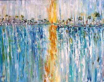 Boats Marina Sunrise painting oil palette knife impressionism on canvas fine art by Karen Tarlton