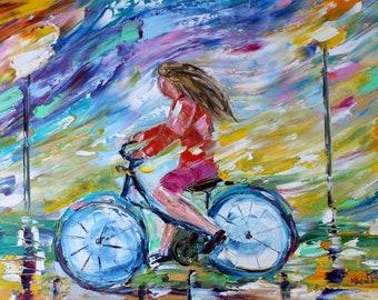 Bike Ride painting original oil on canvas palette knife 12x16 impressionism fine art by Karen Tarlton