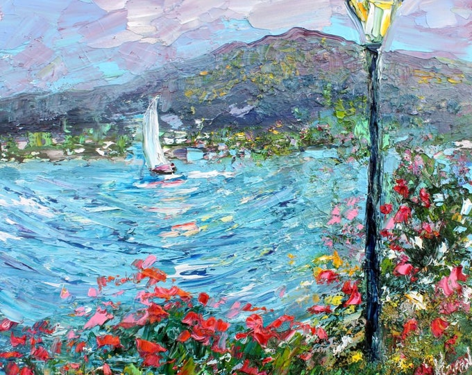 Featured listing image: Boat painting original oil abstract palette knife impressionism on canvas fine art by Karen Tarlton