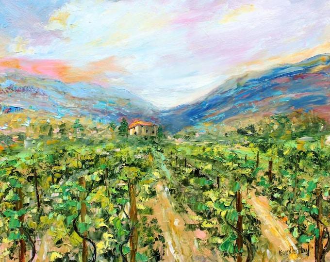 Featured listing image: Vineyard painting, vineyard art, vineyard original painting in oil palette knife impressionism on canvas fine art by Karen Tarlton