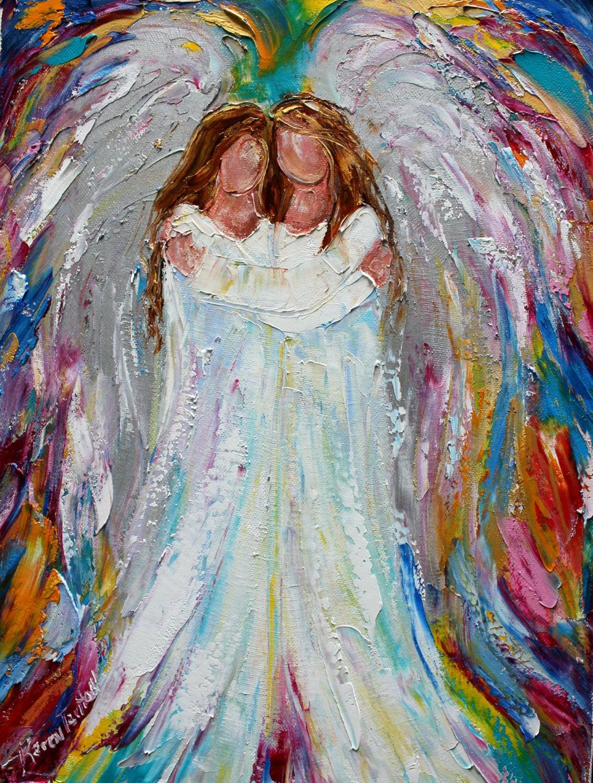 Engel Druck Druck auf Leinwand Angel umarmt Engel aus Bild | Etsy