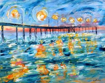 Ocean Beach Pier at Dusk painting Original oil landscape palette knife impressionism on canvas 24x20 fine art by Karen Tarlton