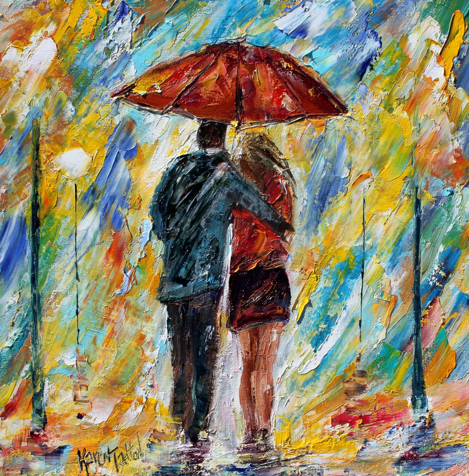 Rain Painting, Love Couple Painting, Original Oil, 12x12