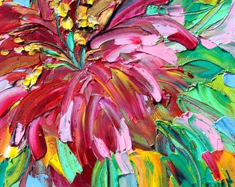 Daylily painting original oil 6x6 palette knife impressionism on canvas fine art by Karen Tarlton
