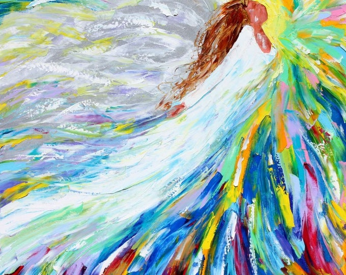 Featured listing image: Angel painting, angel art, angel Rising painting, original oil abstract palette knife impressionism on canvas fine art by Karen Tarlton