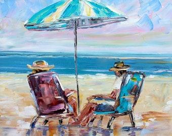 Summer Beach Sitting painting original oil 12x12 abstract palette knife impressionism on canvas fine art by Karen Tarlton