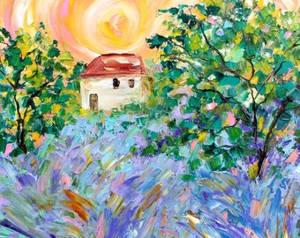 French Lavender painting original oil 12x12 abstract palette knife impressionism on canvas fine art by Karen Tarlton