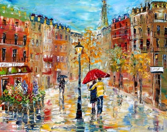 "Paris Romance canvas print 20"" x 24"" Gallery Quality Giclee on canvas made from image of past painting by Karen Tarlton fine art"