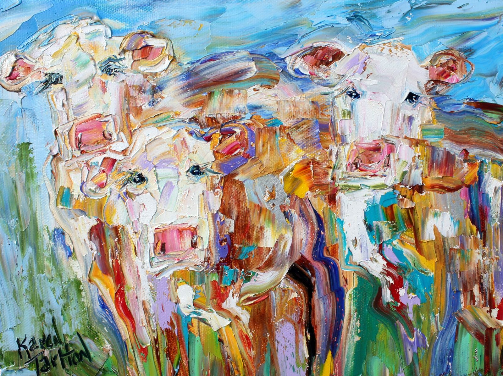 Cow Painting Cow Art Animal Painting Equine Art Palette Knife