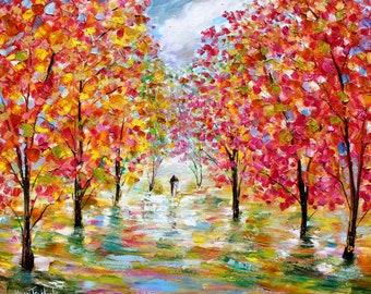 Canopy of Color Romance couple painting Original oil landscape palette knife impressionism on canvas 24x30 fine art by Karen Tarlton