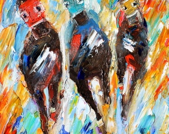 Horse Race painting original oil on canvas palette knife 12x16 impressionism fine art by Karen Tarlton