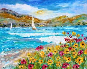 Wildflower and Ocean painting Original oil landscape palette knife impressionism on canvas 20x24 fine art by Karen Tarlton