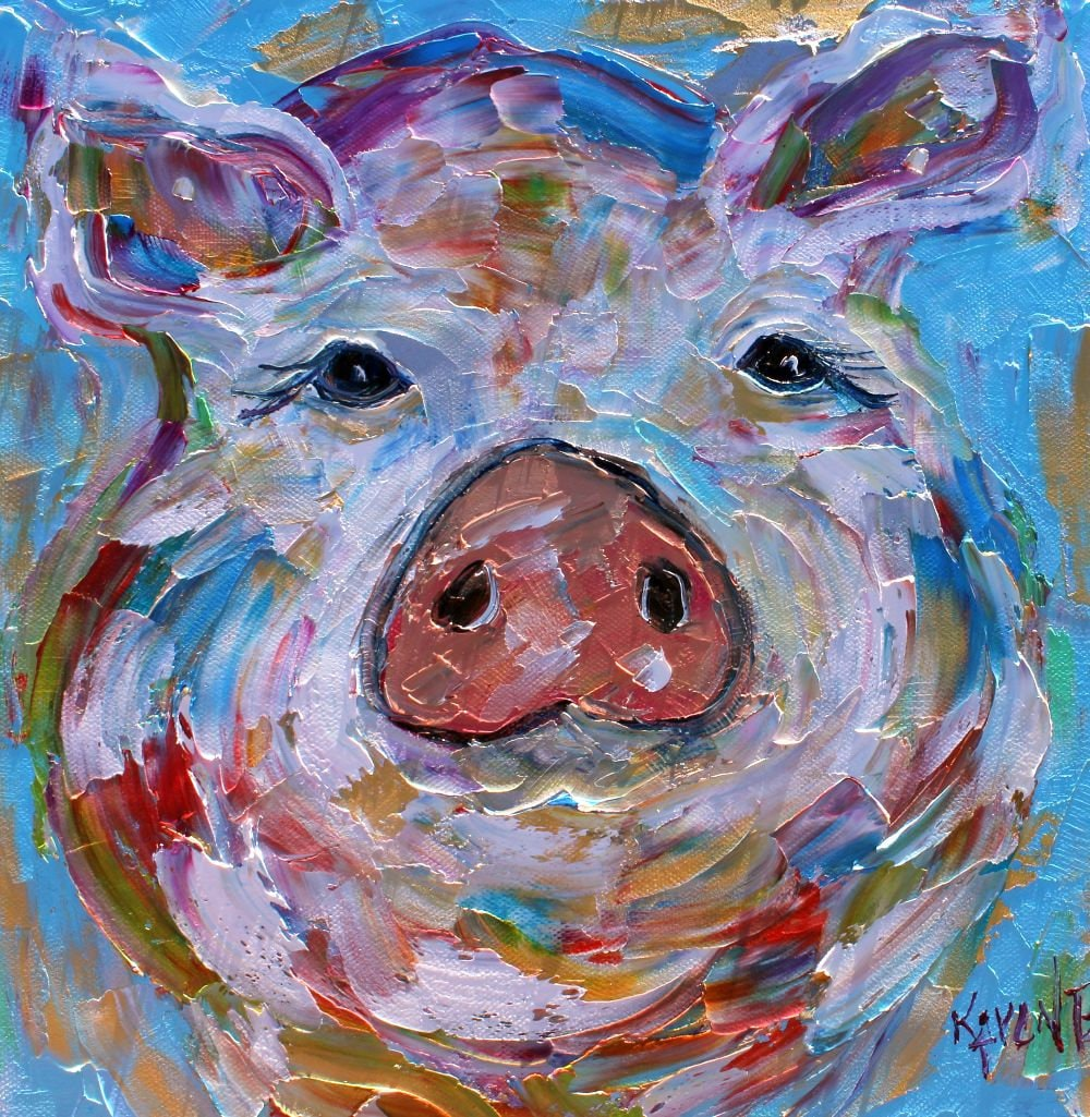Pig Painting Pig Art Original Oil Abstract Palette Knife