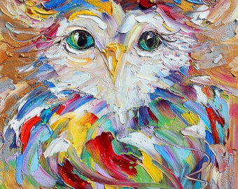 Owl painting original oil abstract impressionism fine art impasto on canvas by Karen Tarlton