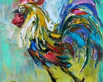 Rooster painting original oil abstract impressionism fine art impasto on canvas by Karen Tarlton