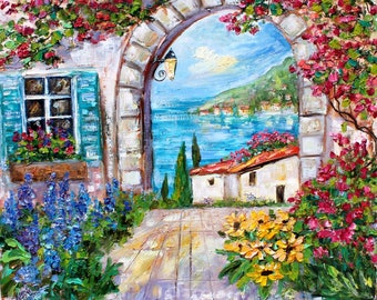 Lake Como Italy Spring painting in oil landscape palette knife impressionism on canvas 16x20 fine art by Karen Tarlton