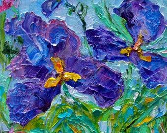 Iris flowers painting Original oil abstract palette knife impressionism on canvas fine art by Karen Tarlton