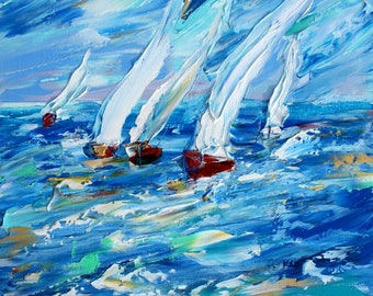 Sailing into the Blue painting original oil on canvas palette knife 12x16 impressionism fine art by Karen Tarlton