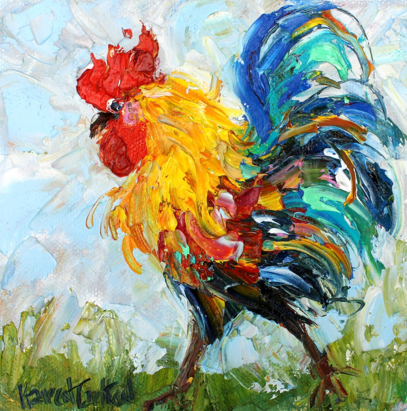 Rooster Painting Bird Art Bird Painting Original Oil