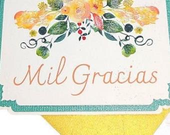 Mil Gracias, Petite Spanish Thank You Flat Notes + Gold Shimmer Envelopes