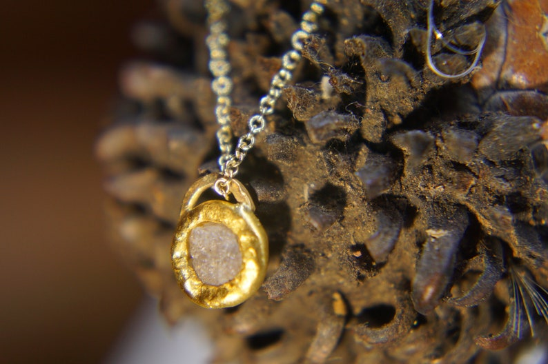 solid 24k gold pendantgold charm necklacegemstone pendantrough white diamond pendant24 k gold pendant solid gold diamond charm
