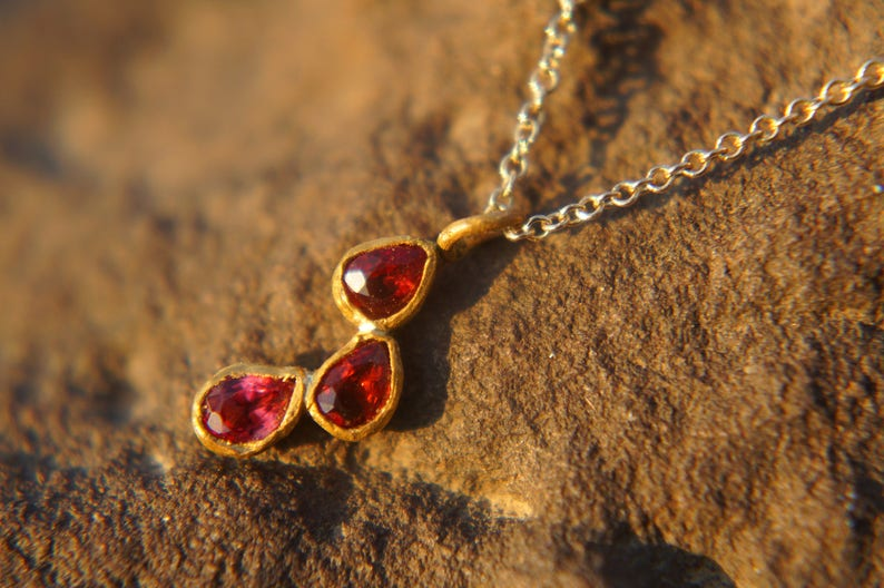 solid 24k gold pendantgold charm necklacegemstone pendantred orange sapphire pendant24 k gold pendant solid gold sapphire charm