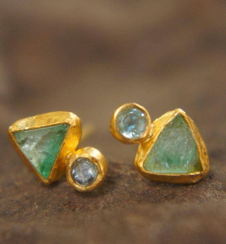 dbb54b7b52800 24k solid gold- green emerald Studs -24k gold Earrings-green emerald-gold  stud earrings-24k gold earrings-raw emerald solid gold earrings