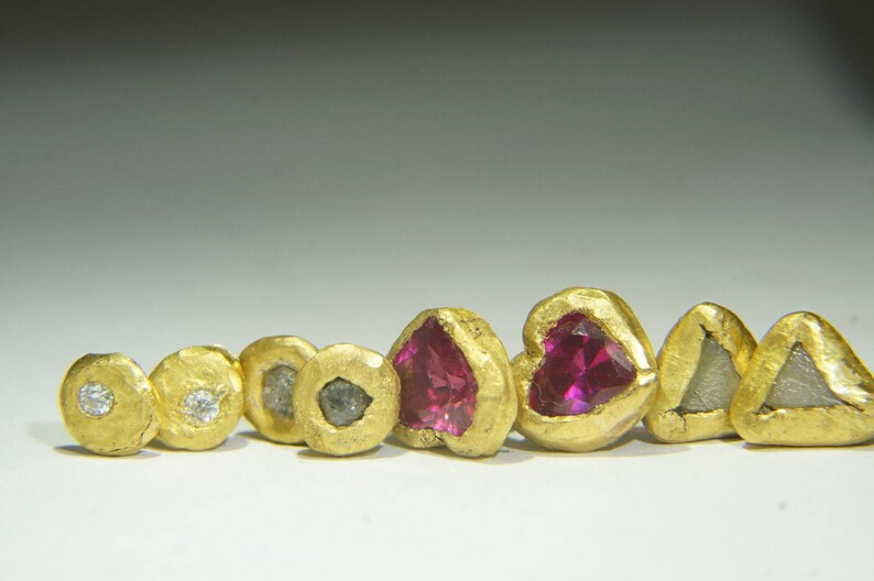 bcfc8b095 Triangle//gold diamond stud earrings//rough Diamond//tiny gold | Etsy