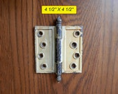 set 6 antique cast iron hinges with turnip style tips 4 1 2 quot X 4 1 2 quot architectural salvage