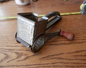 vintage Mouli Grater, kitchen gadget antique red wood handle, Made in France