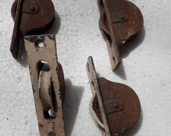 set of 4 vintage window pulleys architectural salvage, re-purpose