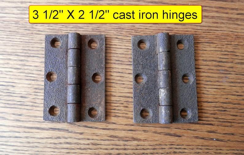 Lot of 4 Vintage Retro Hammered Cabinet Hinge Copper Mid Century w// screws
