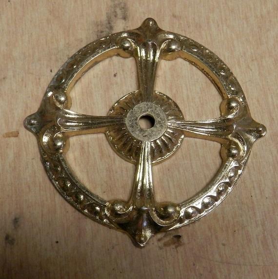 brass vintage large rosette for behind a furniture knob 1 vintage one
