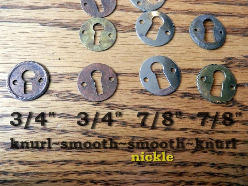 1 1516 brass or nickle  vintage originals plain or knurled edge key hole escutcheons antique 34 1316 1 116 78
