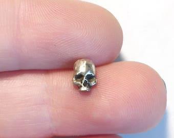 58800bcf4 3D Skull in Sterling Silver Pick Your Steel Post Earring or Hat Pin.  Perfect for Helix, Lobe, Cartilage, Labret Piercings