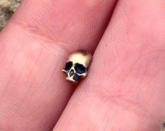 5ef7f923c 3D Skull in Brass Pick Your Steel Post Earring or Hat Pin. Perfect for Helix,  Lobe, Cartilage, Labret Piercings