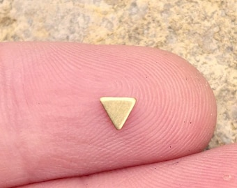 fd3c6904e Minimal 3mm Triangle Brass Pick Your Hypoalergenic Post. Perfect for Helix,  Lobe, Labret, Tragus Piercing