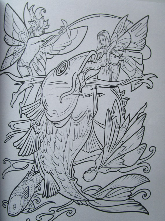 Adult Coloring Book Fairy Life one sided pages Nathaniel | Etsy