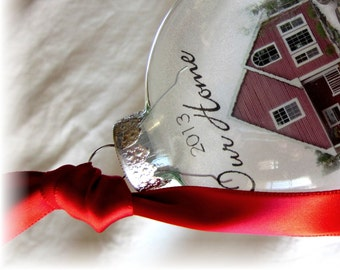 Our Home First Home Ornament Christmas Ornament New Home Housewarming Gift Glass Custom House Ornament Large Over 3 Inches Like Etched Glass