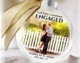 Our First Christmas Engaged Personalized Glass Christmas Ornament Frosted Insert Gift For Couples Engagement Bridal Shower