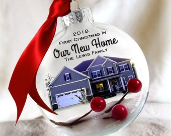 First Christmas In Our New Home Picture Snow and Berries /  Housewarming Gift / Glass Custom House Ornament / Frosted Etched Look